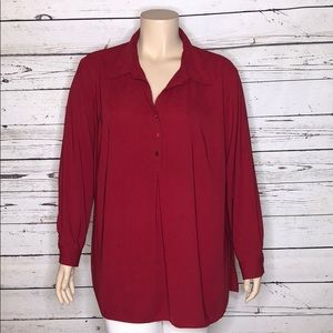 Susan Graver 3X Red Tunic Henley Blouse